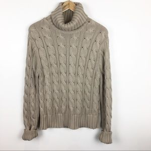 Ann Taylor Sweater Turtleneck Tan Size XL Chunky